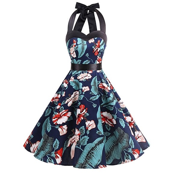 6ac6a2ae271 Vintage 50s style tropical print halter dress